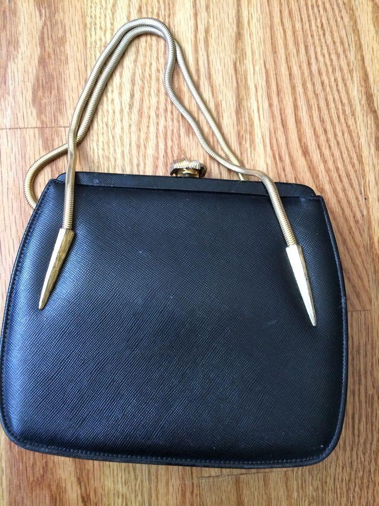 Vintage 1950s Dofan Black Textured Leather Handbag Made In France Brass Hardware Ebay