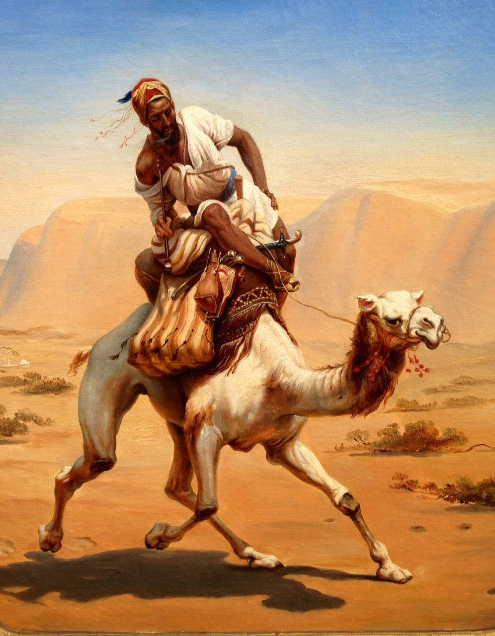 Attribution to Emile Lecomte Vernet (1821-1900)  Orientalist painting depicting a Bachi-Bouzouk on his camel.  Price : 10.000€