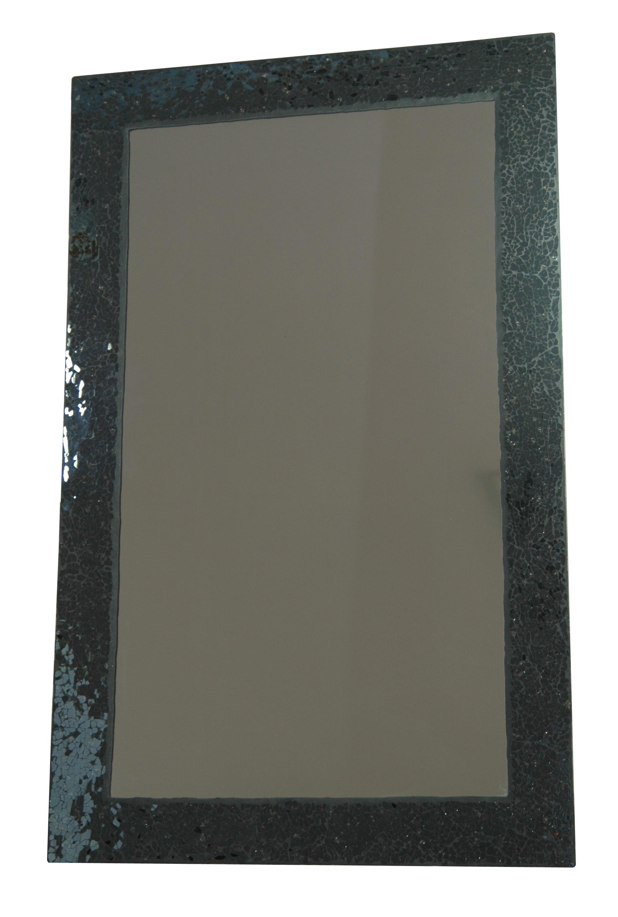 Espejo con marco de cristal negro crakelado de Atrezzo. De 80x50 cm ...