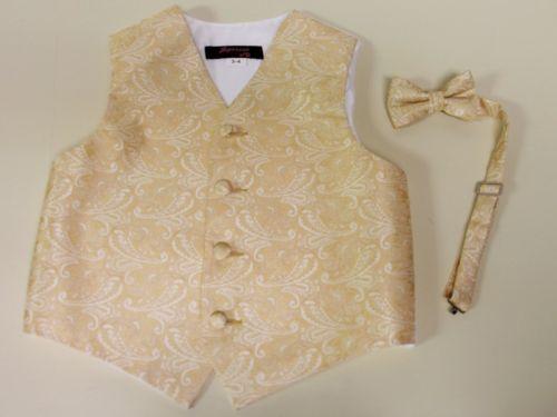 Vest-Boys-Champagne-Paisley-Full-Back-Bow-Tie-Tuxedo-Ring-Bearer-Wedding-Party