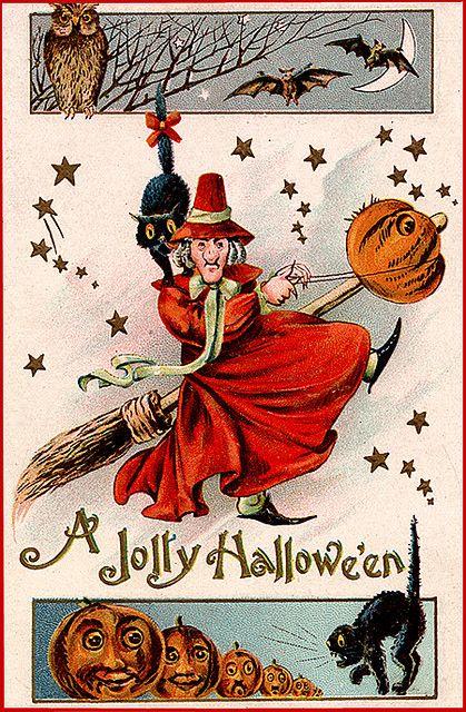 Witch Halloween Vintage Postcard Flying Broomstick Owl Bats Pumpkin Black Cat Vintage Halloween Cards Halloween Images Halloween Prints