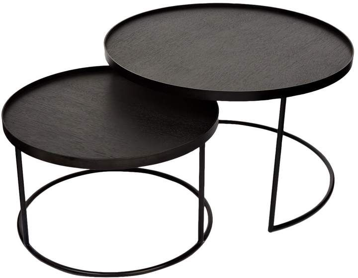Notre Monde Round Tray Tables Set Of 2 Nesting Coffee Tables