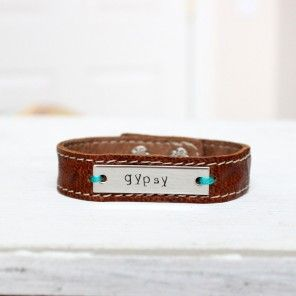 Our personalized leather cuff bracelets are soft, durable and the perfect  touch to any outfit. Customize this bracelet with a name, date, word, initials or anything you would like.horsefeathersgifts.com