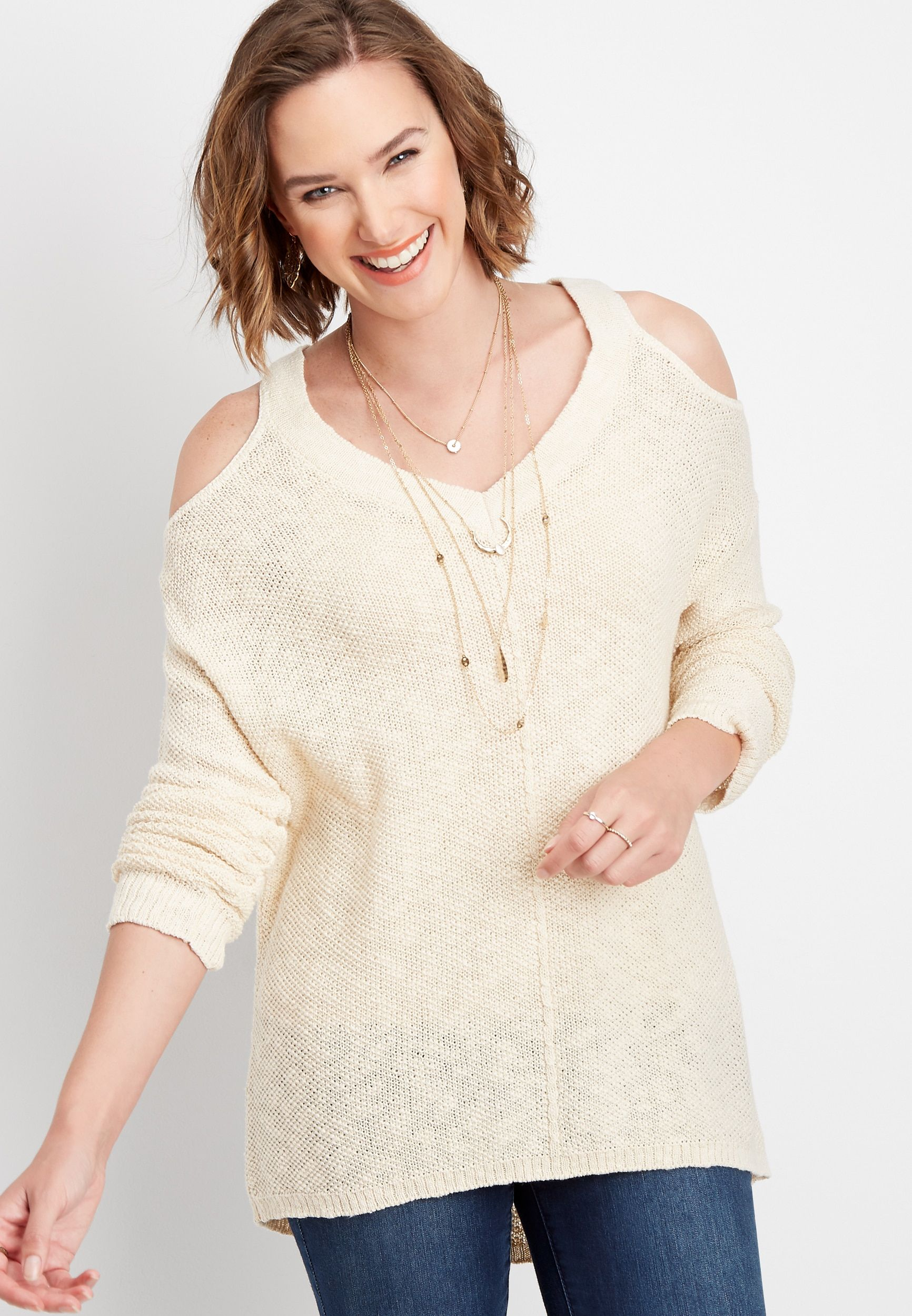 Maurices Womens Solid Long Sleeve Cold Shoulder Pullover Beige – Size X Small