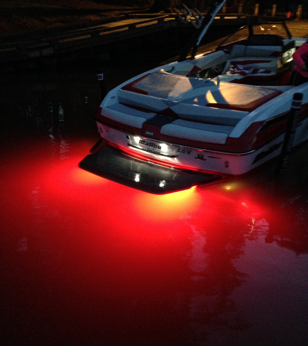 Set Of LIFEFORM 6 Reds Installed On The Back A 2014 @bernard Resnick Boats 23 LSV. Getting Ready