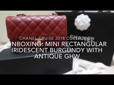 d2a99d8518230f (1) Chanel Cruise 2018 Unboxing | Mini Rectangular Iridescent Burgundy With  Antique GHW - YouTube