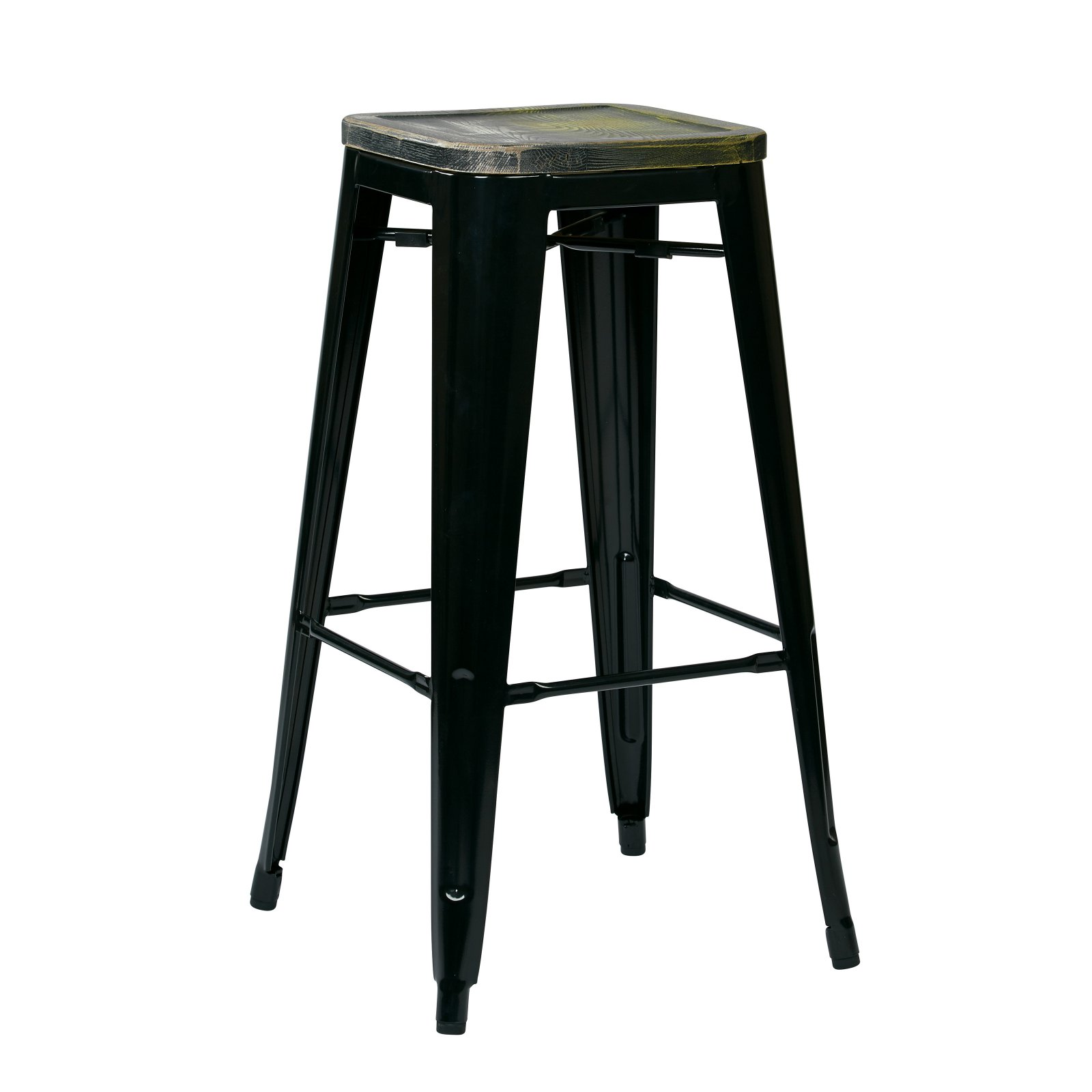 Osp Designs Bristow 30 In Metal Barstool With Vintage Wood Seat