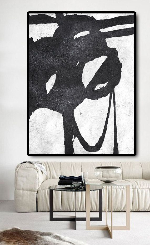 Extra Large Painting On Canvas, Textured Painting Canvas Art, Black And White…