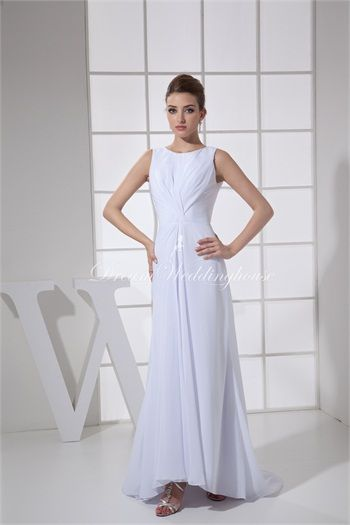 Scoop Sheath/ Column Sleeveless Chiffon Silk-like Satin New Arrival Wedding Dresses  http://www.DreamWeddingHouse.com/Scoop-Sheath-Column-Sleeveless-Chiffon-Silk-like-Satin-New-Arrival-Wedding-Dresses-p19744.html