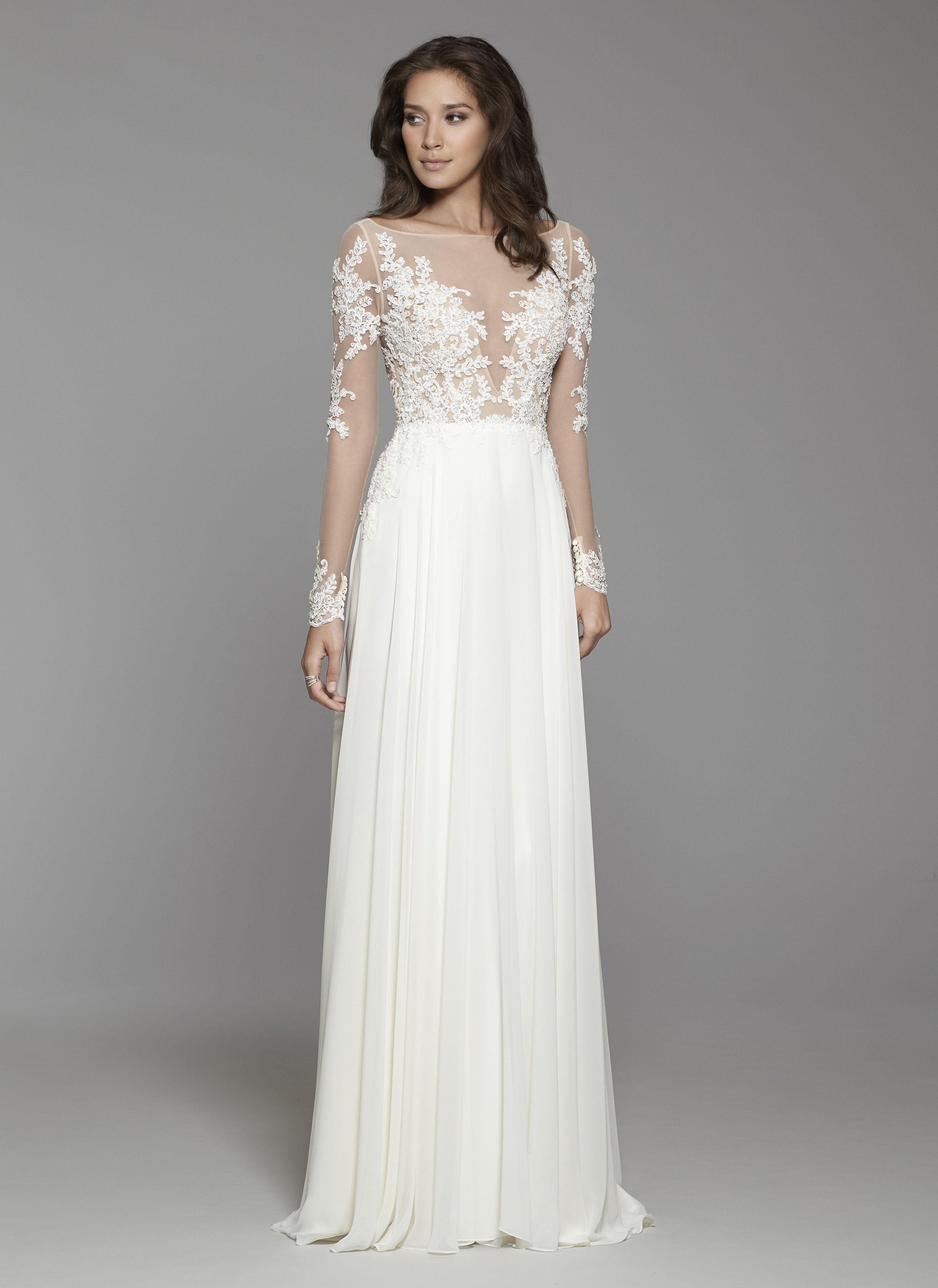 Ivory chiffon modified A-line bridal gown, beaded applique Alencon ...