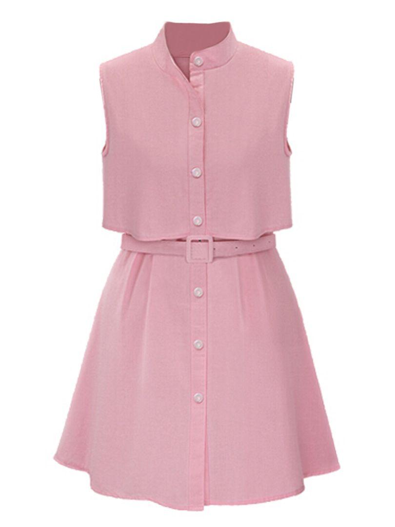 Pink High Neck Belt Waist Overlay Shirt Dress