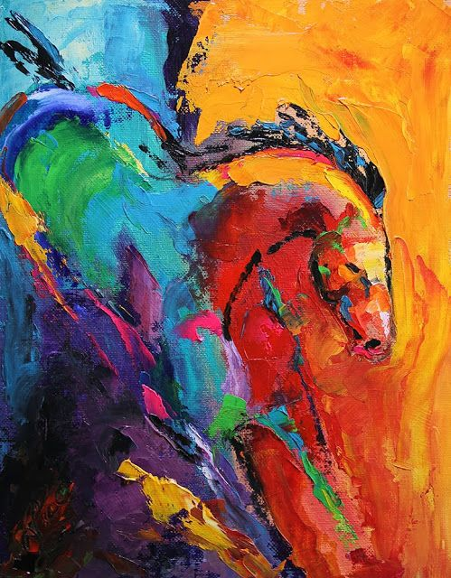 Artists Of Texas Contemporary Paintings and Art: Day 5 Abstract Horse Painting by Texas Artist Laurie Pace