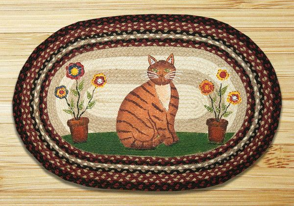 20in. x 30in. Folk Art Cat Oval Patch Braided Rug