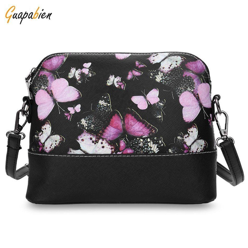 Butterfly Floral Print Women Handbag Shell Shape Ladies Dual Purposes PU Leahter Shoulder Crossbody Bags Messenger Bag for Lady