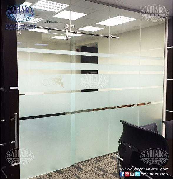 06d629405bf Office sliding door and partitions made from clear glass and frosted  stripes with ROYAL° handle and accessories.