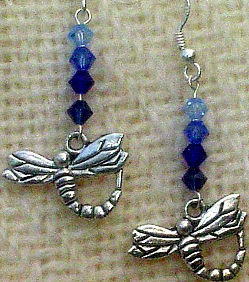 Shades of Blue Dragonfly Earrings by AGreenWoods on Etsy