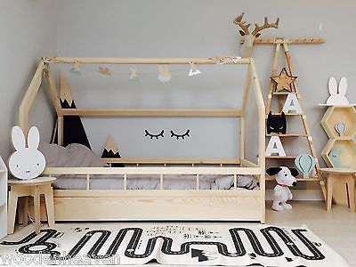 details zu hausbett kinderhaus farbe sicherheitbarieren house bed kinder bett kinder bett. Black Bedroom Furniture Sets. Home Design Ideas