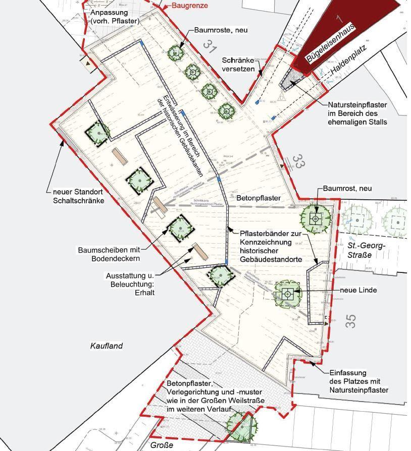 Der Neue Platz An Der Grossen Weilstrasse Betonpflaster St Georg Neue Wege