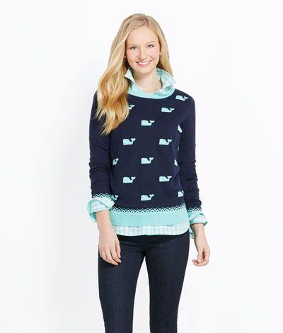 Women s Sweaters  Polka Dot Whale Sweater for Women - Vineyard Vines ... 3dfa49e93f