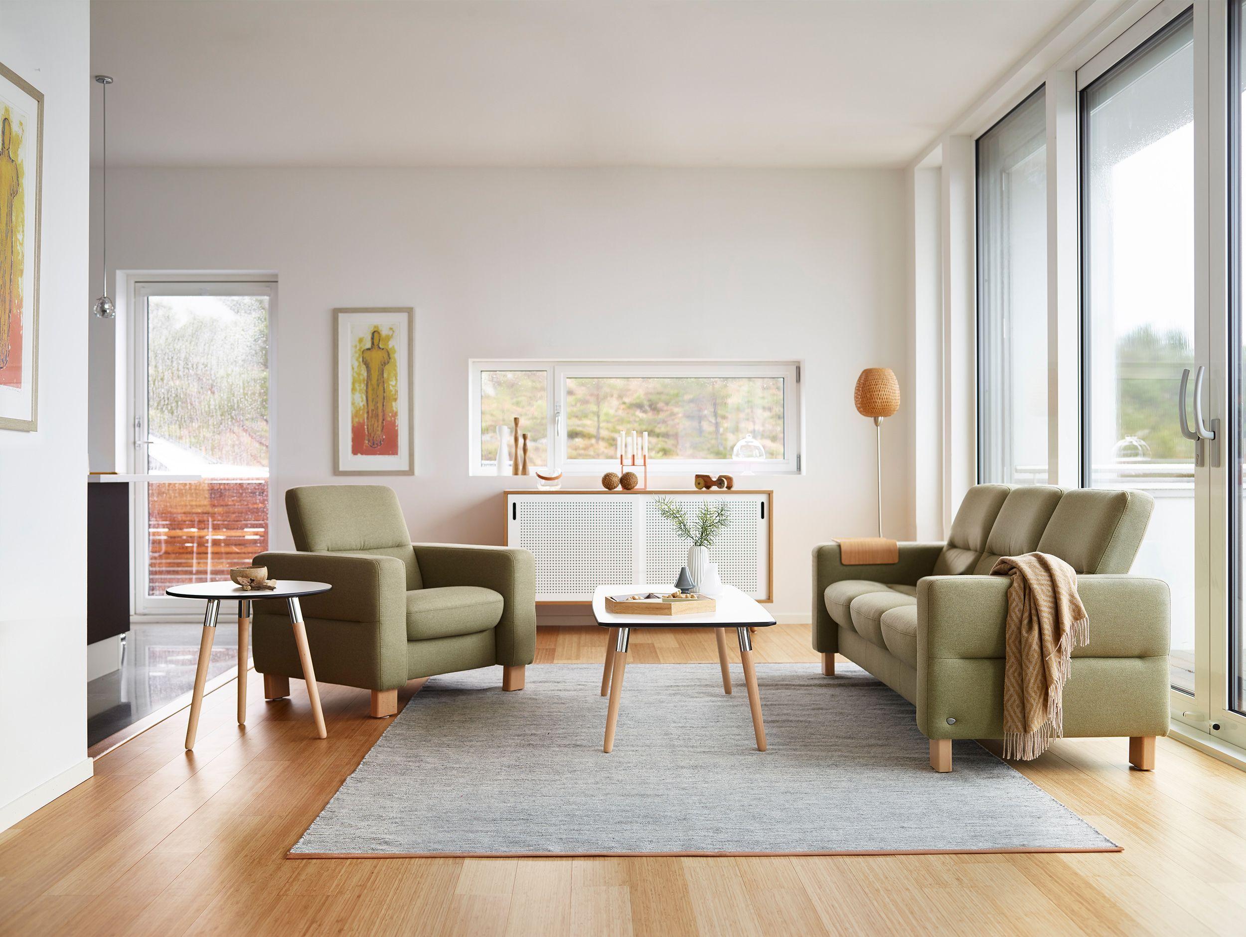 stressless wave sofa als sessel und 3 sitzer niedrige r ckenh he in der ausf hrung stoff. Black Bedroom Furniture Sets. Home Design Ideas