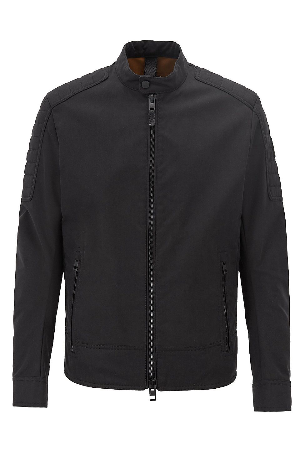 ed796deb HUGO BOSS Regular-fit biker jacket in water-repellent peached fabric - Black  Casual Jackets from BOSS for Men in the official HUGO BOSS Online Store  free ...