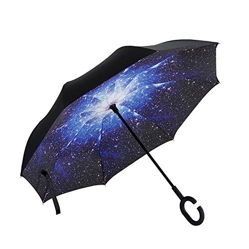 PowerLead Pumb B002 Travel Umbrella Foldable Rain Umbrella Sun Block Umbrella Summer Shady Sun UmbrellaReverse Folding Umbrella Self Standing for Car Rain Protection C Shape Handle Inverted Umbrella ** Check out this great product. (Note:Amazon affiliate link)