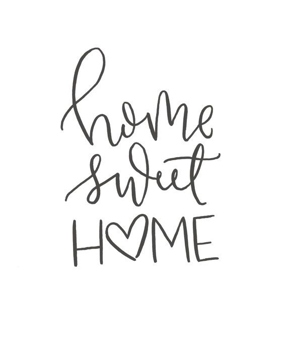 Home Sweet Brush Script Quote Digital Print Hand