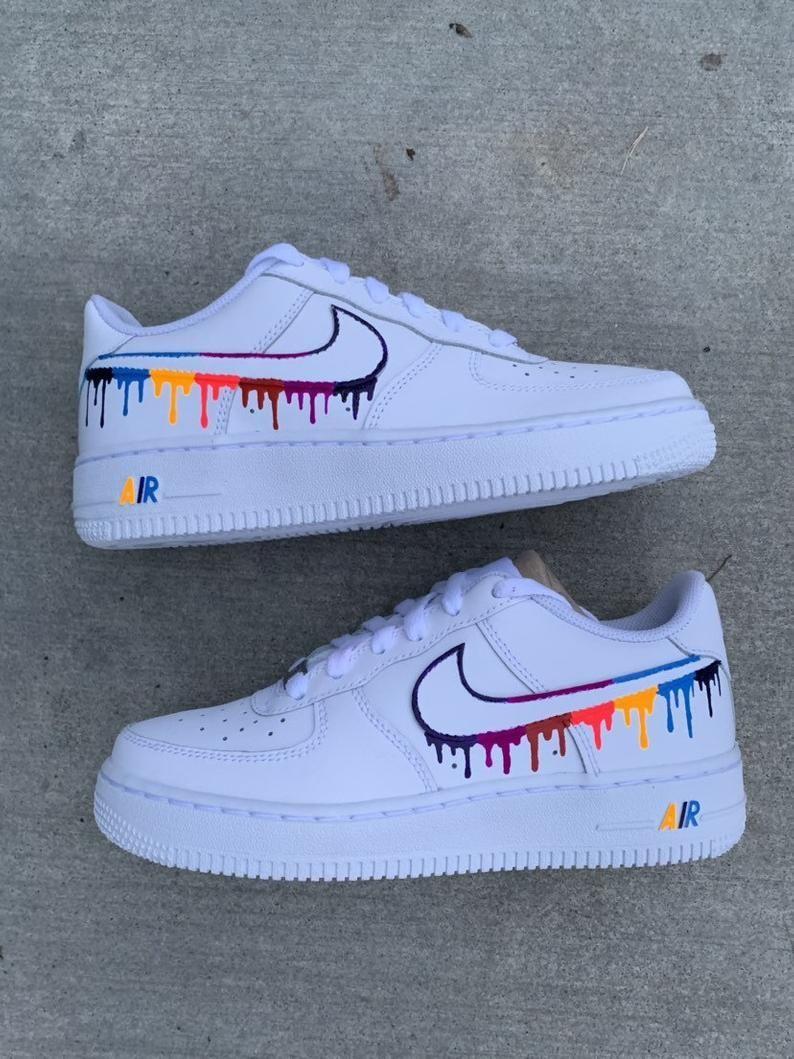DRIP Custom Air Force 1 White nike shoes in 2020 White