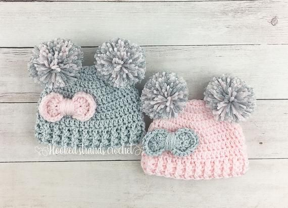 Photo of Baby girl big bow double pom beanie