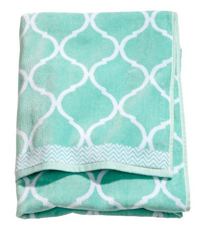 This Jacquardweave Turquoise Bath Towel Features Velour At Front - Velour bath towels for small bathroom ideas