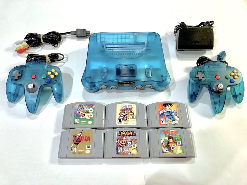 Funtastic Ice Blue Nintendo 64 (N64) System + 2 Controllers + 6 ...