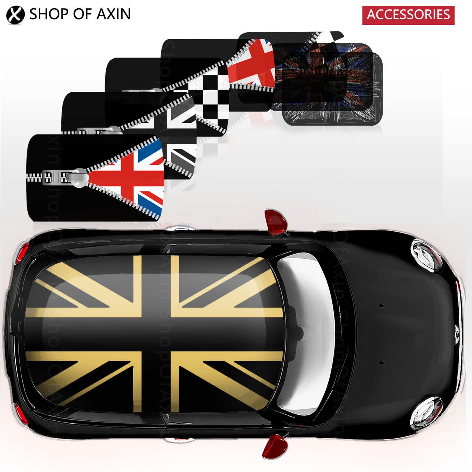 Creative full whole cover roof graphics stickers decal for mini cooper clubman countryman hardtop r50 r53