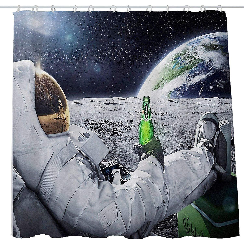 Men Drink Beer Usa Flag Shower Curtain Grey Metal Polyester