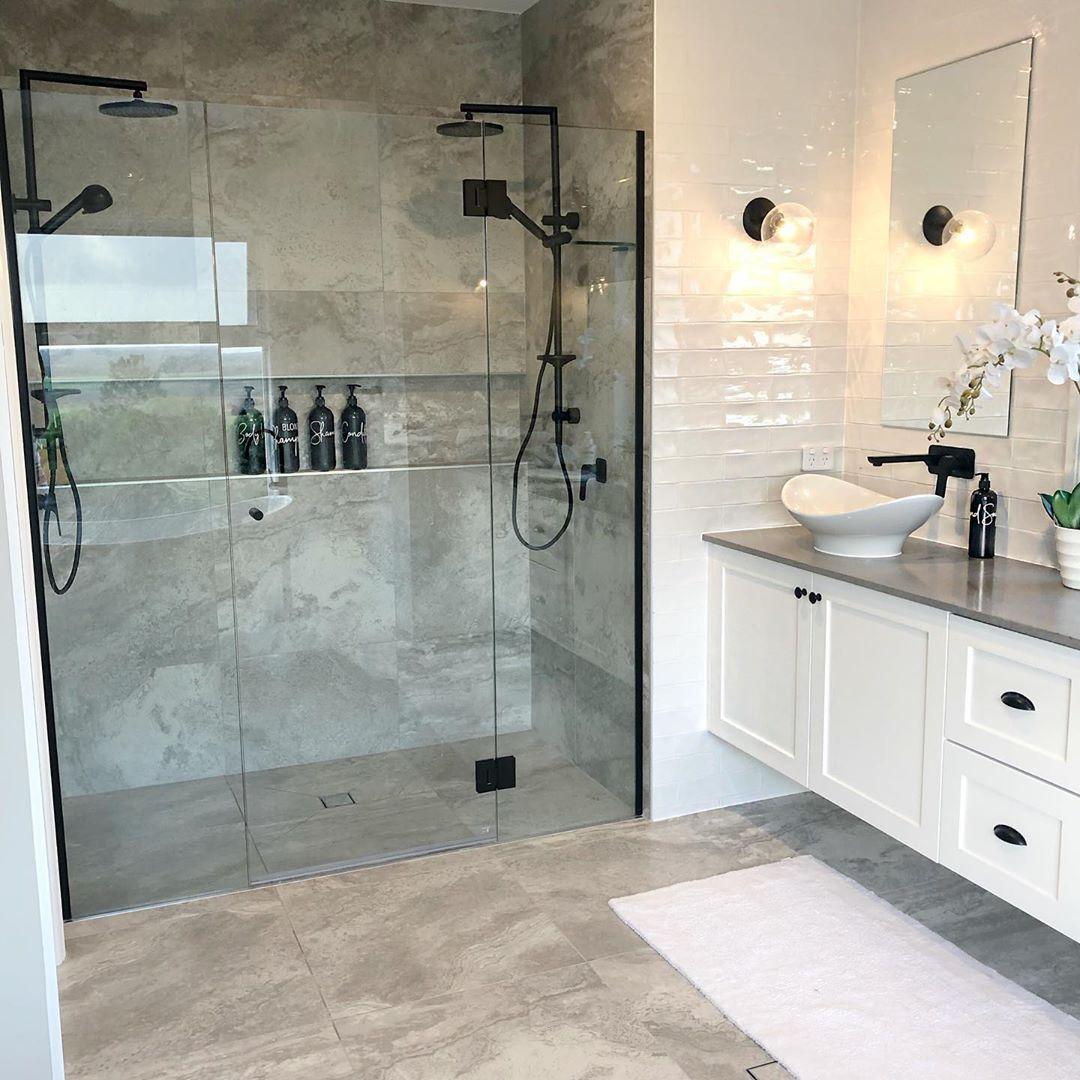 Neutral Bathroom Bathroom Wall Tile Large Tile Bathroom Bathroom Design
