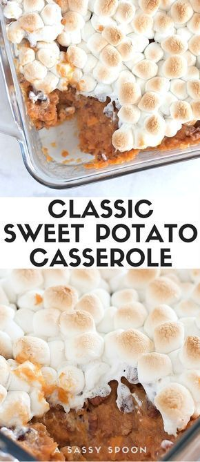 Sweet Potato Casserole Nothing says Thanksgiving like classic sweet potato casserole made with cinnamon, pecans and topped with toasted mini marshmallows! via @asassyspoonNothing says Thanksgiving like classic sweet potato casserole made with cinnamon, pecans and topped with toasted mini marshmallows! via @asassyspoon