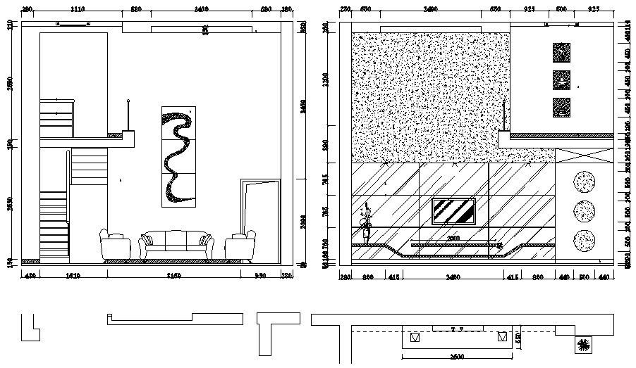 Living Room Elevation Drawing