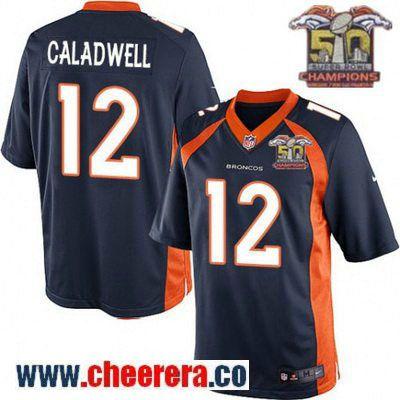 Men's Denver Broncos #12 Andre Caldwell Navy Blue 2016 Super Bowl 50th Championship Patch Stitched NFL Nike Game Jersey