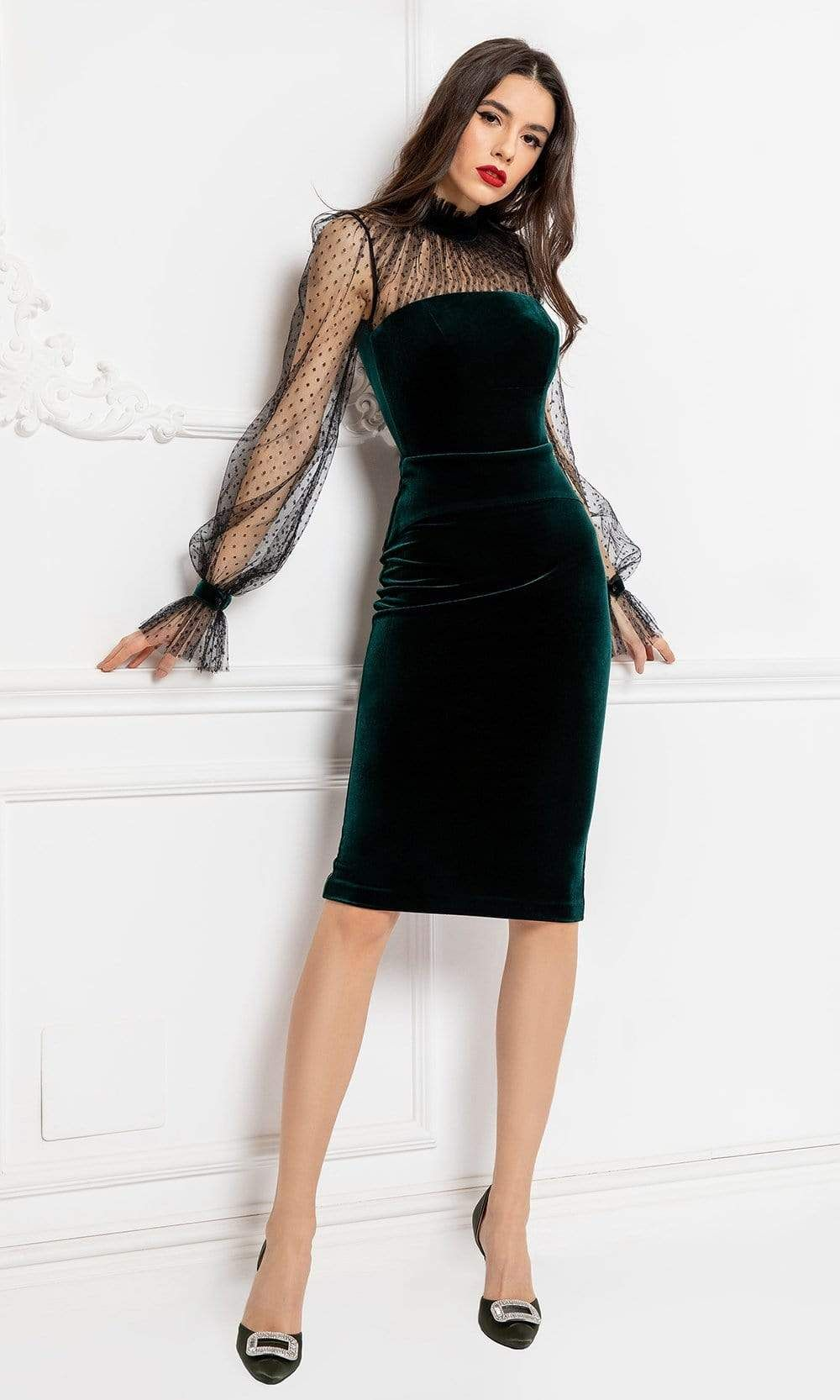 Be every bit as sophisticated as the timeless beauties of Hollywood in this classy cocktail dress from Cristallini SKA1082. A form-fitting knee-length dress in classy stretch velvet showcasing a tube style bodice and an enclosed back, with elegant point d esprit tulle yoke and long sleeves with untrimmed gathered high neckline and cuffs. The sheath skirt sculpts from the hips down to a knee length hemline with a short slit at the back. Display an impeccable style at your spectacular black-tie ev