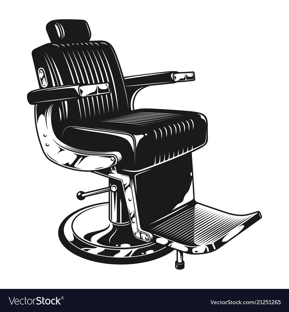Vintage Barbershop Modern Chair Template In Monochrome