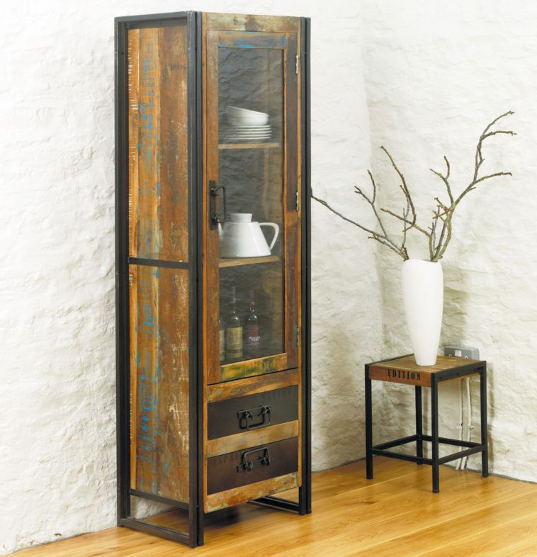 Industrial Wood And Metal Combo Tall Narrow Display Cabinet With 2 Drawers Next By Square Side Table Glass Cabinet Doors Furniture Display Cabinet