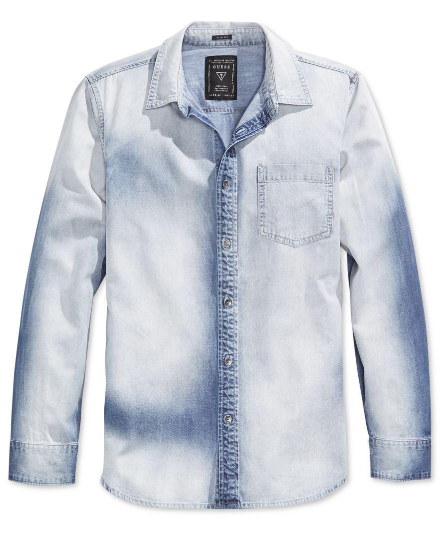 cf80e80d292 Guess Men s Slim-Fit Fieriness-Wash Long-Sleeve Denim Shirt