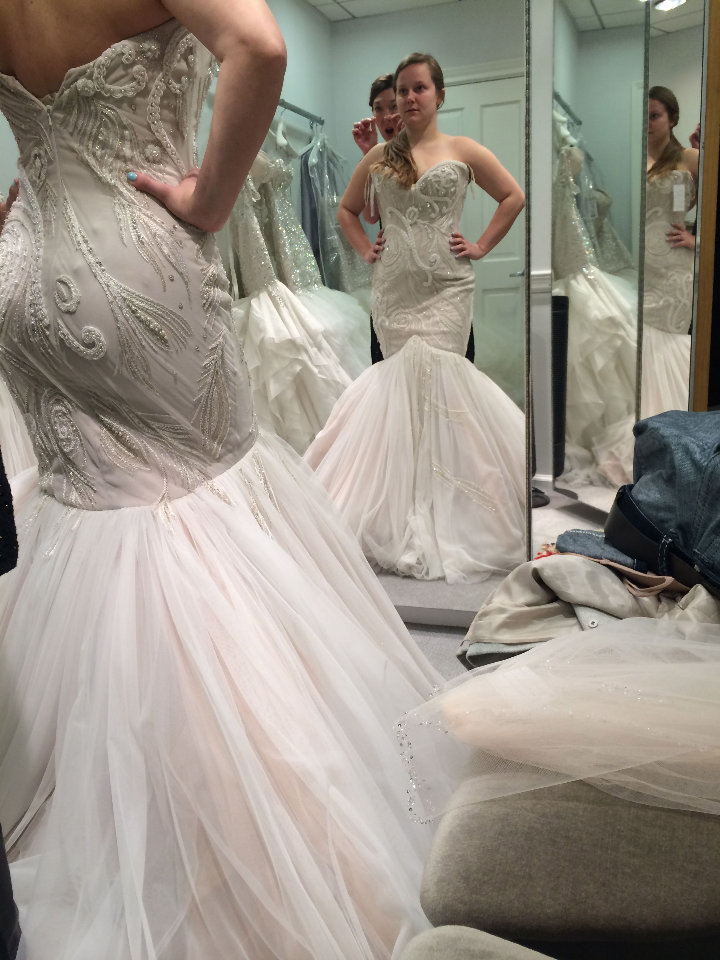 blush mermaid wedding dress While me and my bestfriend were in NYC I went to Kleinfeld s to try on dresses I tried on a Jim Hjelm and a Mark Zunino in blush I loved them both