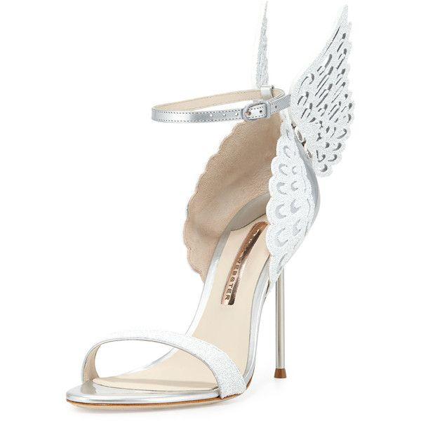 Sophia Webster Evangeline Angel Wing Sandal (€635) ❤ liked on Polyvore featuring shoes, sandals, heels, perola snow, glitter sandals, ankle strap heel sandals, strappy heel sandals, strappy sandals and ankle wrap sandals