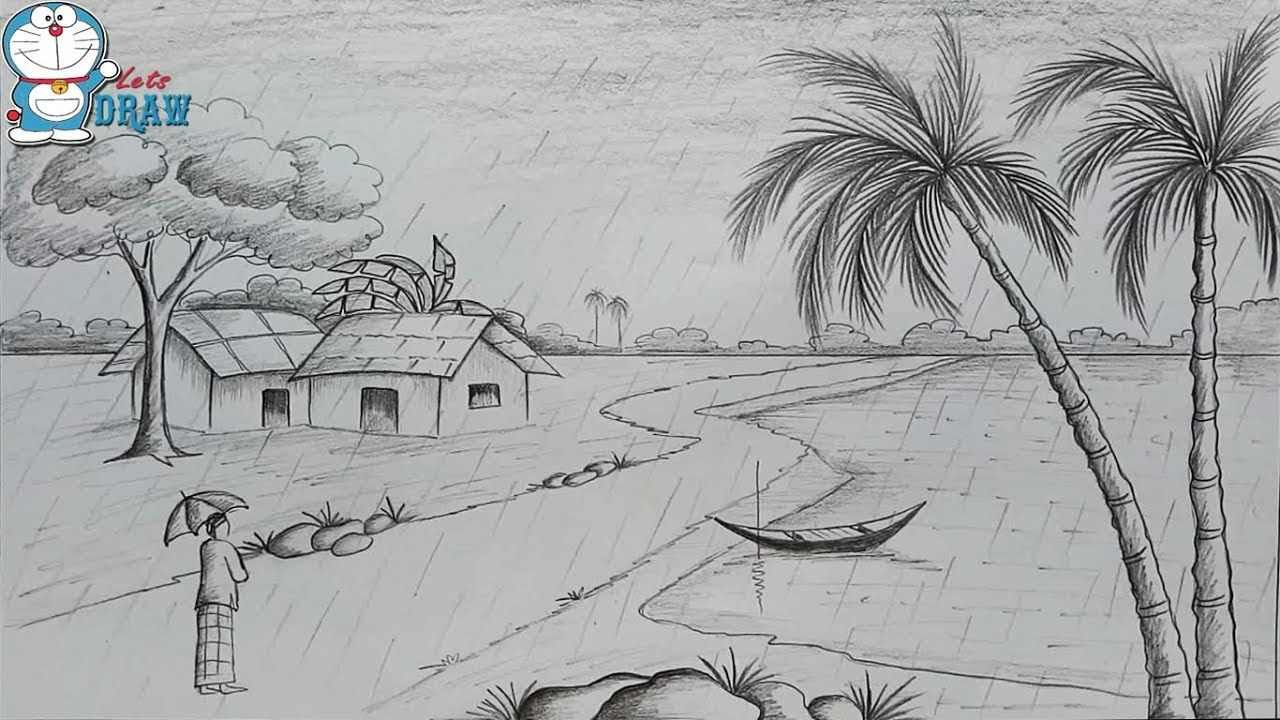 How To Draw Scenery Of Rainy Season By Pencil Sketch Step By Step Youtube Nature Sketches Pencil Nature Sketch Village Drawing