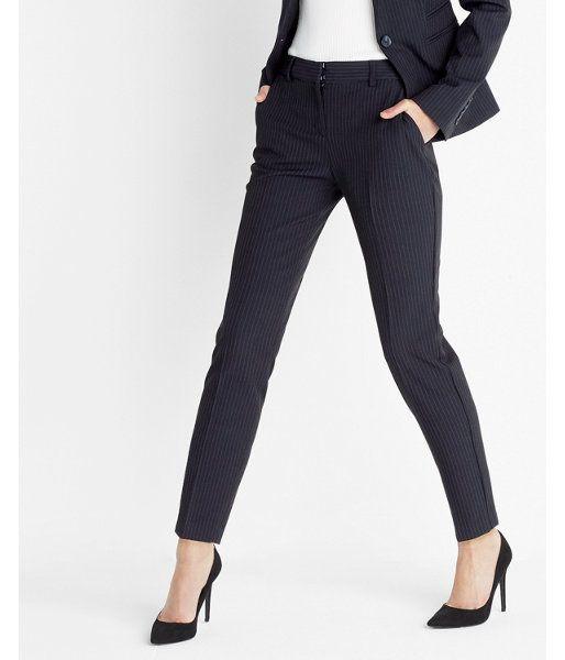 10880b0b669 Petite Mid Rise Pinstripe Columnist Ankle Pant Stripe Women's 12 Petite