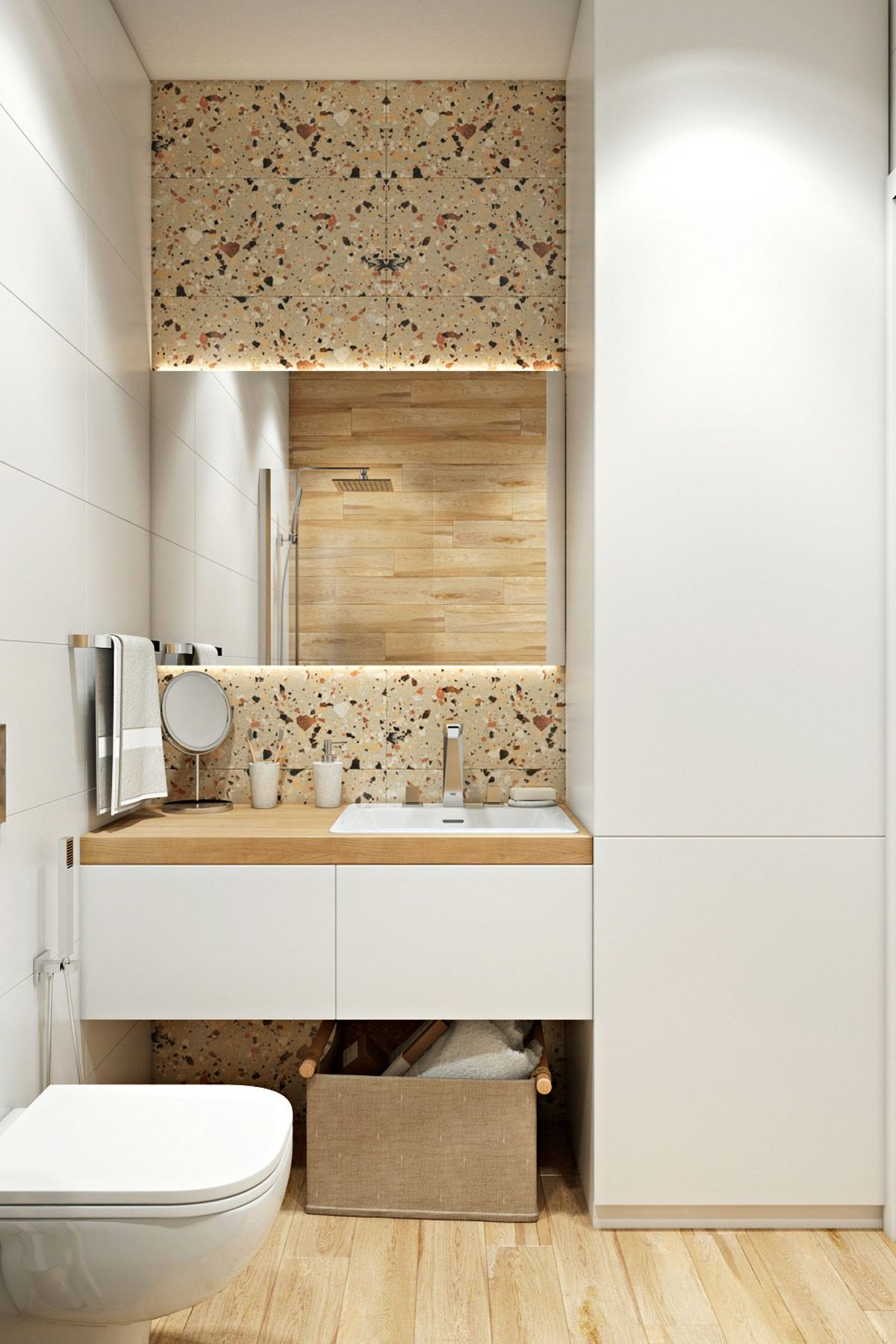 terrazzo platten rückwand im badezimmer hinter waschtisch und ...