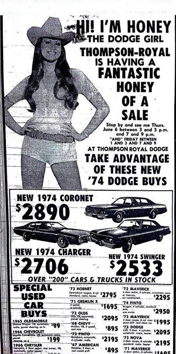 Former Miss Texas Jeannie Wilson as the 72 Dodge Girl ...