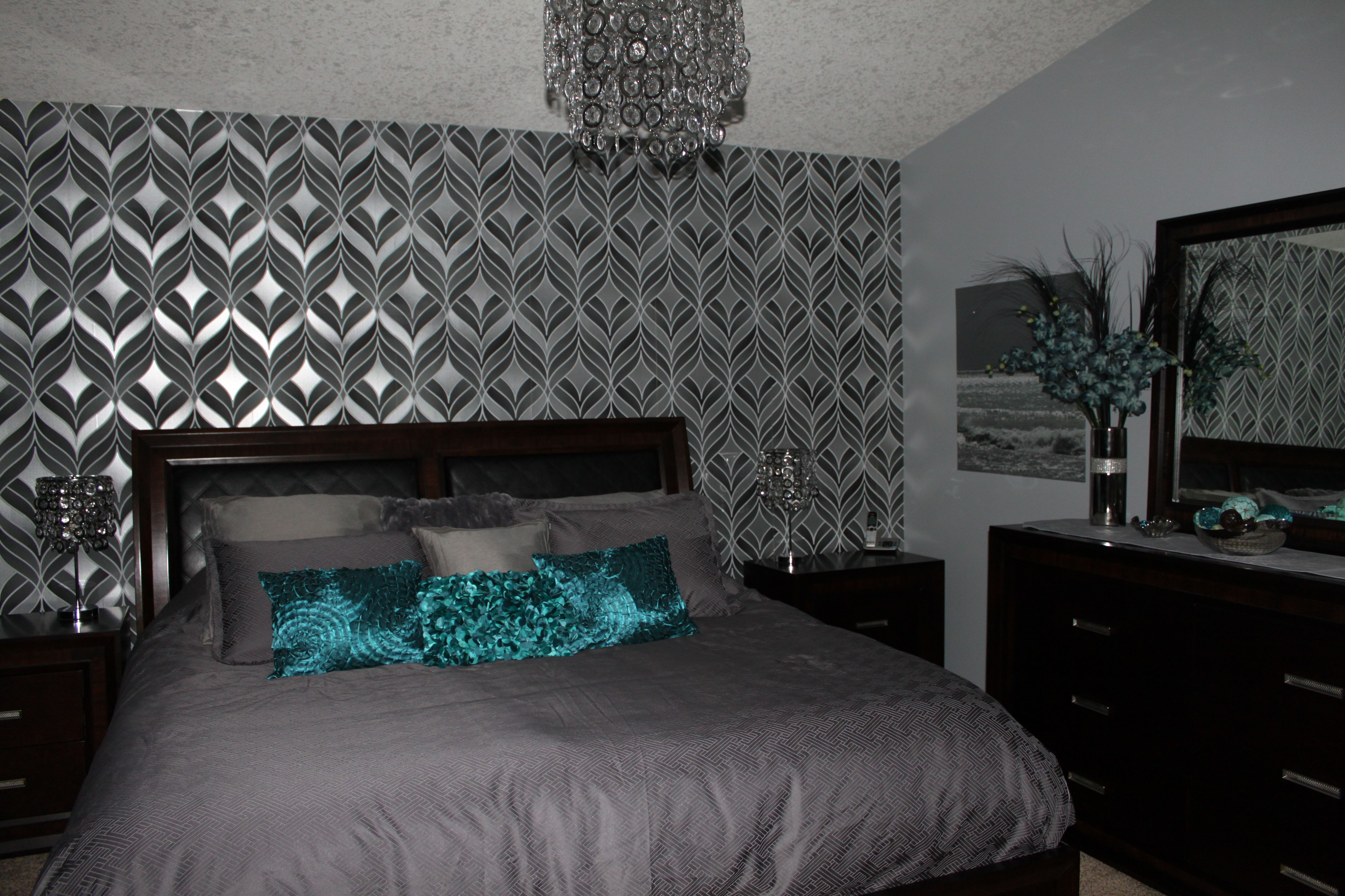 Offset window behind bed  silver and teal bedroom  home decor  pinterest  teal bedrooms
