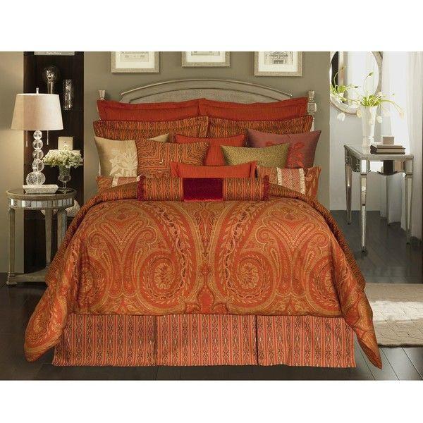 Rose Tree Alexandria King Sized Comforter Set Comforter Sets King Size Comforter Sets Orange Comforter