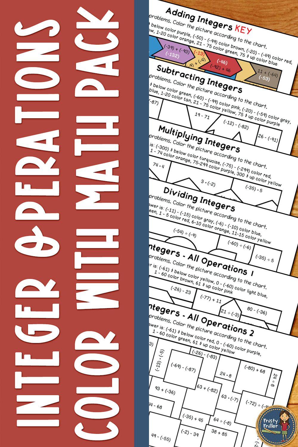Integer Operations Color With Math Pack In 2020 Integer Operations Integers Math Multiplying integers coloring worksheet